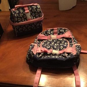 Pottery Barn Kids pink & navy sparkle cheetah